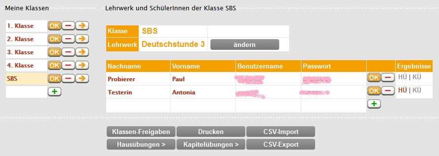 Klassenverwaltung Deutschstunde online