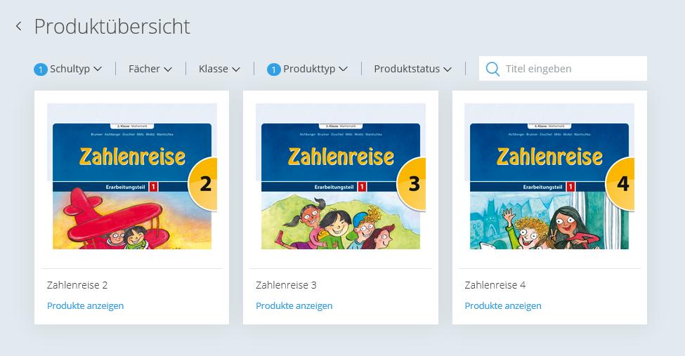 Produktübersicht Filter Volksschule und Gratis-Material